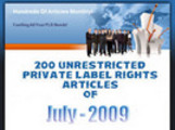 Thumbnail 180 Unrestricted PLR Articles of July 2009